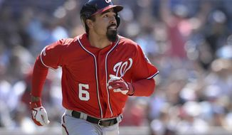 Washington Nationals' Anthony Rendon watches his home run during the eighth inning of a baseball game against the San Diego Padres Sunday, June 9, 2019, in San Diego. (AP Photo/Orlando Ramirez) ** FILE **