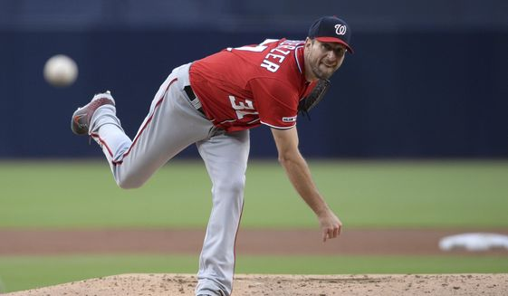 Washington Nationals starting pitcher Max Scherzer throws to a San Diego Padres batter during the first inning of a baseball game Saturday, June 8, 2019, in San Diego. (AP Photo/Orlando Ramirez) ** FILE **