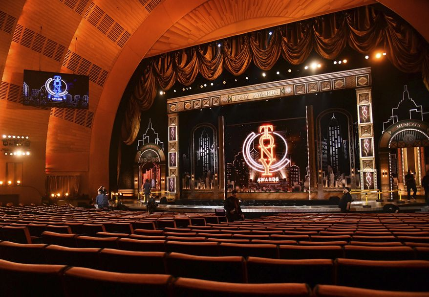 A view of the stage appears prior to the start of the 73rd annual Tony Awards at Radio City Music Hall on Sunday, June 9, 2019, in New York. (Photo by Charles Sykes/Invision/AP)