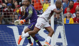 United States goalkeeper Zack Steffen (1) reacts after being scored on by Venezuela forward Jose Salomon Rondon (23) during the first half of an international friendly soccer match, Sunday, June 9, 2019, in Cincinnati. (AP Photo/John Minchillo)