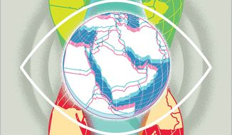 Illustration on visions for the Middle East by Linas Garsys/The Washington Times