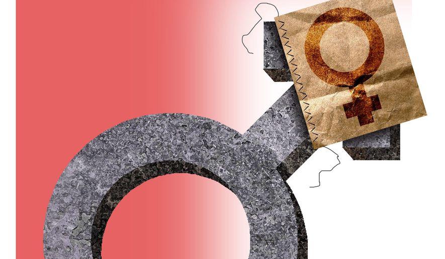 Illustration on transgender concerns by Alexander Hunter/The Washington Times