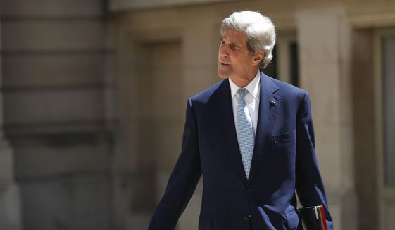 Former Secretary of State John Kerry arrives at the Tech for Good summit, Wednesday, May 15, 2019 in Paris. World leaders and tech bosses meet Wednesday in Paris to discuss ways to prevent social media from spreading deadly ideas. (AP Photo/Thibault Camus)