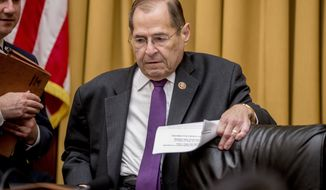 Judiciary Committee Chairman Jerrold Nadler, D-N.Y., arrives for a House Judiciary Committee hearing on the Mueller Report on Capitol Hill in Washington, Monday, June 10, 2019. (AP Photo/Andrew Harnik)