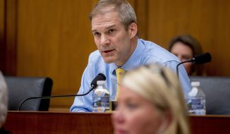 Rep. Jim Jordan, R-Ohio, questions former White House counsel for the Nixon Administration John Dean during a House Judiciary Committee hearing on the Mueller Report on Capitol Hill in Washington, Monday, June 10, 2019. (AP Photo/Andrew Harnik)
