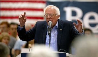 Democratic presidential candidate Bernie Sanders speaks to audience members during a campaign stop at Grand River Center in Dubuque, Iowa, Sunday, June 9, 2019. (Eileen Meslar/Telegraph Herald via AP) ** FILE **