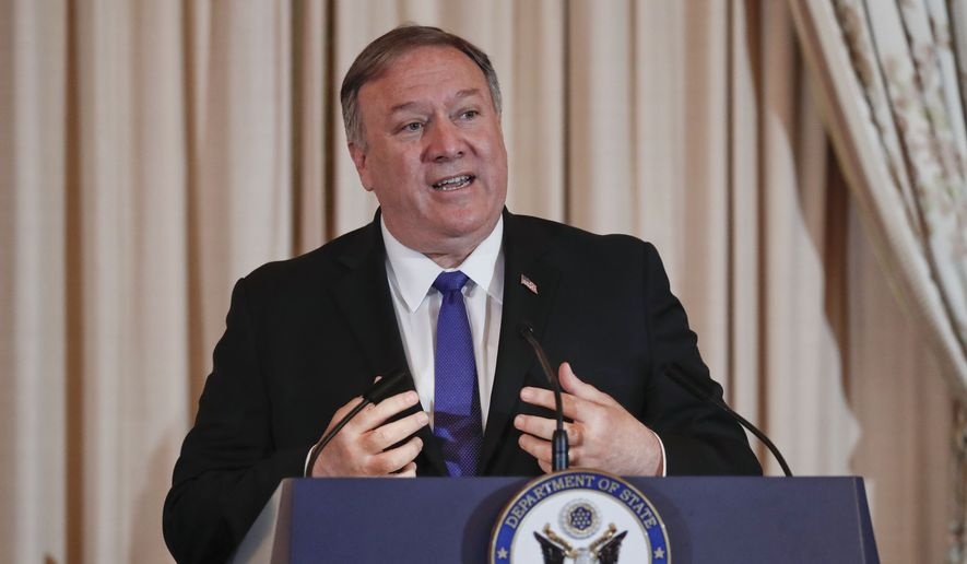 Secretary of State Mike Pompeo speaks during the announcement of the World Food Prize Laureate at the State Department, Monday, June 10, 2019. Simon N. Groot of the Netherlands, founder of East-West Seed, will receive the 2019 World Food Prize. (AP Photo/Pablo Martinez Monsivais)