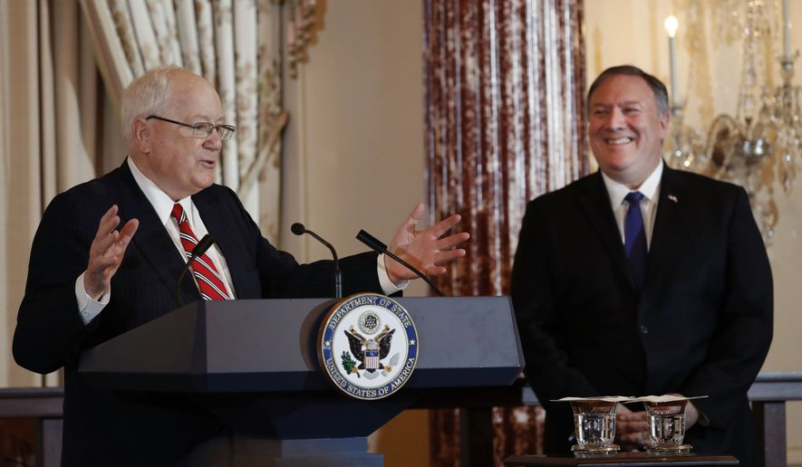 Secretary of State Mike Pompeo (right) presided over Monday's ceremony at the State Department where Ambassador Kenneth M. Quinn, president of the World Food Prize Foundation, announced Simon N. Groot as the 2019 recipient. (Associated Press)