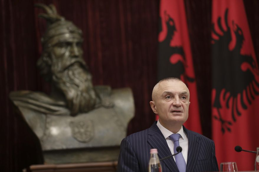 """Albanian President Ilir Meta speaks during a news conference in capital Tirana, Albania on Monday June 10, 2019. Albania's president says he has canceled upcoming municipal elections fearing a """"social tension."""" Ilir Meta said holding elections without the opposition would be """"undemocratic"""" and would """"freeze the country's integration."""" (AP Photo/Hektor Pustina)"""