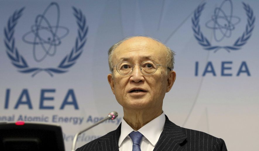 In this Thursday, Nov. 22, 2018, file photo, director General of the International Atomic Energy Agency, IAEA, Yukiya Amano of Japan, addresses the media during a news conference after a meeting of the IAEA board of governors at the International Center in Vienna, Austria. Yukiya Amano is urging world powers continue dialogue with Iran to keep it in the landmark 2015 deal aimed at preventing the country from building nuclear weapons.(AP Photo/Ronald Zak)