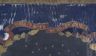 This undated photo provided by Morphy Auctions shows a detail of the 127th Regiment United States Colored Troops battle flag in Denver, Pa. The flag was carried into battle by one of the 11 black Union regiments during the Civil War is going up for auction in Pennsylvania. The flag was painted by David Bustill Bowser, an African American artist who was a member of one of the regiments and the son of a fugitive slave. (Morphy Auctions via AP)