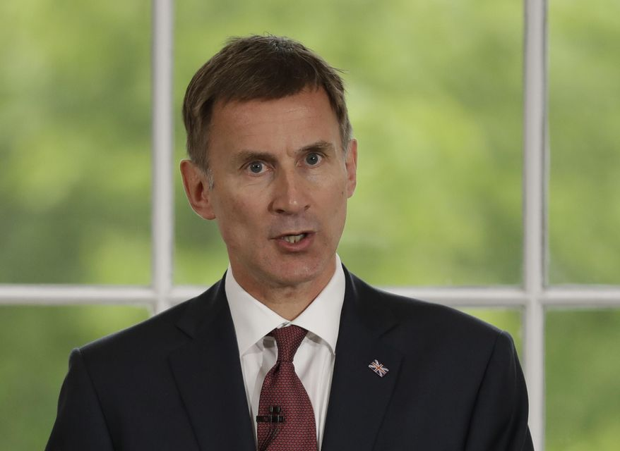 Britain's Foreign Secretary Jeremy Hunt launches his leadership campaign for the Conservative Party in London, Monday, June 10, 2019. (AP Photo/Matt Dunham)