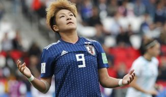 Japan's Yuika Sugasawa reacts during the Women's World Cup Group D soccer match between Argentina and Japan at the Parc des Princes in Paris, France, Monday, June 10, 2019. (AP Photo/Thibault Camus)
