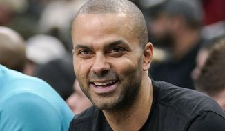 "In trhis Jan. 14, 2019, file photo, Charlotte Hornets' Tony Parker laughs on the bench during the second half of an NBA basketball game against the San Antonio Spurs, in San Antonio.  Four-time NBA champion Tony Parker has announced he's retiring after 18 seasons. The 37-year-old guard played 17 said on Twitter Monday, June 10, 2019, that it was an emotional decision and that it has been an ""incredible journey."" He played 17 seasons for the San Antonio Spurs and made the postseason every year of his career before joining the Hornets last season and missing the playoffs. He was selected to the All-Star team six times and was named second-team All-NBA three times. (AP Photo/Darren Abate) **FILE**"