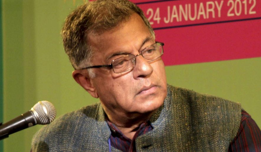 FILE- A Jan. 20, 2012 file photo of Indian actor and playwright Girish Karnad, attending the Jaipur Literature Festival in Jaipur, India. Karnad, a top Indian playwright, actor, director and a rights activist, died on Monday after a prolonged illness. He was 81. (AP Photo/ Manish Swarup, File)