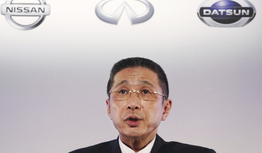 FILE - In this May 14, 2019, file photo, Nissan Motor Co. Chief Executive Hiroto Saikawa speaks during a press conference at its Global Headquarters in Yokohama, near Tokyo. Saikawa criticized Monday, June 10, 2019, the Japanese automaker's French alliance partner, Renault, for trying to block changes to strengthen governance following the arrest of former Nissan Chairman Carlos Ghosn.(AP Photo/Koji Sasahara, File)