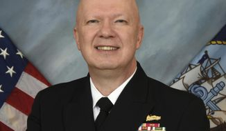 FILE - This undated file image provided by the U.S. Navy shows Rear Adm. Jeffrey Harley, president of the U.S. Naval War College in Newport, R.I. On Monday, June 10, 2019, the Navy said Harley has been reassigned pending the outcome of an inspector general investigation. The administrative reassignment comes days after The Associated Press reported on the investigation amid allegations that he spent excessively, abused his hiring authority and otherwise behaved inappropriately.  (U.S. Navy via AP, File)