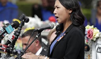 In this file photo, Rep. Stephanie Murphy, D-Fla. speaks at a news conference on Monday, June 10, 2019, in Orlando, Fla. Ms. Murphy is among a number of House Democrats who have expressed concern about the price tag and the hazy details around President Biden's $3.5 trillion spending plan.  (AP Photo/John Raoux)  **FILE**