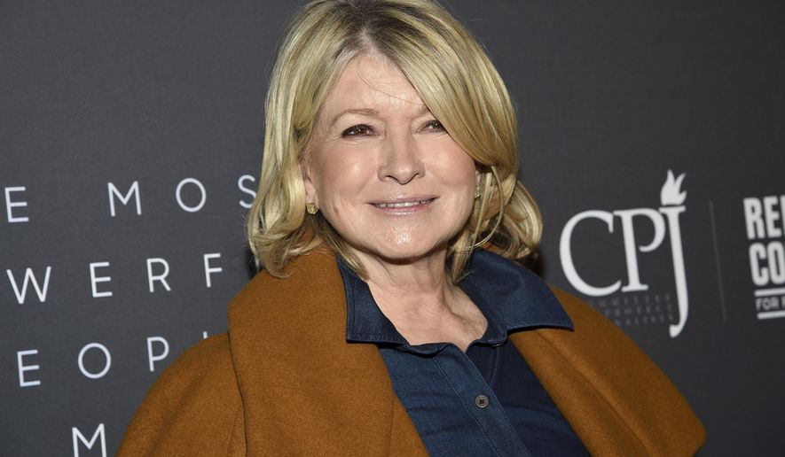 FILE- In this April 11, 2019 file photo, television personality Martha Stewart attends The Hollywood Reporter's annual Most Powerful People in Media cocktail reception at The Pool in New York. Stewart, a former resident of Nutley, N.J. has been inducted into the New Jersey Hall of Fame. (Photo by Evan Agostini/Invision/AP, File)