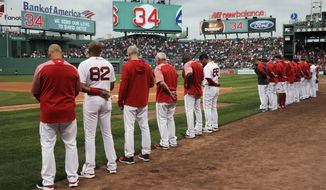 The Boston Red Sox and fans pause for a moment for former Red Sox designated hitter David Ortiz, who was shot Sunday evening in the Dominican Republic, prior to a baseball game against the Texas Rangers at Fenway Park in Boston, Monday, June 10, 2019. Ortiz is expected to return to the area to be treated at a Boston hospital. (AP Photo/Charles Krupa)