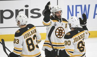 Boston Bruins center Patrice Bergeron (37) celebrates with Marcus Johansson (90), of Sweden, and Karson Kuhlman (83) after the Bruins beat the St. Louis Blues in Game 6 of the NHL hockey Stanley Cup Final Sunday, June 9, 2019, in St. Louis. The Bruins won 5-1 to even the series 3-3. (AP Photo/Scott Kane) **FILE**