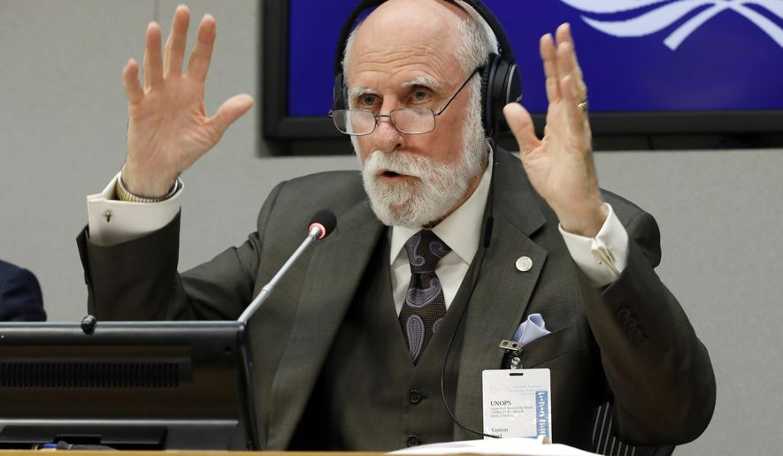 Vinton Cerf, vice president and Chief Internet Evangelist for Google, answers a question during a news conference at United Nations headquarters, Monday, June 10, 2019. (AP Photo/Richard Drew)