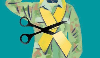 Illustration on cutting military medicine by Linas Garsys/The Washington Times