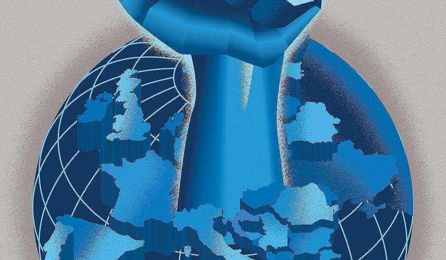 Illustration on nationalism by Linas Garsys/The Washington Times