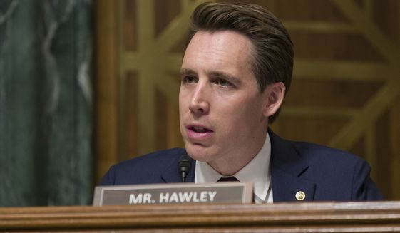 Sen. Josh Hawley, R-Mo., speaks during a hearing of the Senate Judiciary Committee on Wednesday, March 6, 2019, in Washington, in this file photo. (AP Photo/Alex Brandon) **FILE**