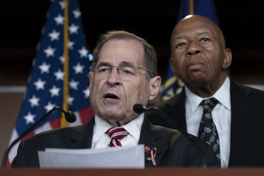 House Judiciary Committee Chairman Jerrold Nadler, D-N.Y., left, joined by House Oversight and Reform Committee Chairman Elijah Cummings, D-Md., talks to reporters in this June 11, 2019, file photo. (AP Photo/J. Scott Applewhite) **FILE**