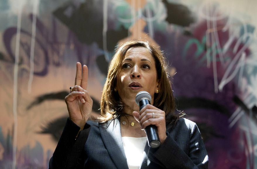 Presidential candidate U.S. Sen. Kamala Harris, D-Calif., speaks to supporters during a campaign stop at Convivium Urban Farmstead in Dubuque, Iowa, on Monday, June 10, 2019. (Eileen Meslar/Telegraph Herald via AP)
