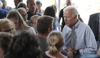 Democratic presidential candidate former Vice President Joe Biden greets supporters after a town hall meeting, Tuesday, June 11, 2019, in Ottumwa, Iowa. (AP Photo/Matthew Putney)