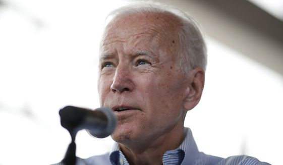 Democratic presidential candidate former Vice President Joe Biden speaks during a town hall meeting Tuesday, June 11, 2019, in Ottumwa, Iowa. (AP Photo/Matthew Putney)