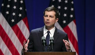 Democratic presidential candidate Mayor Pete Buttigieg delivers remarks on foreign policy and national security during a speech at the Indiana University Auditorium in Bloomington, Ind., Tuesday, June 11, 2019. (AP Photo/Michael Conroy)