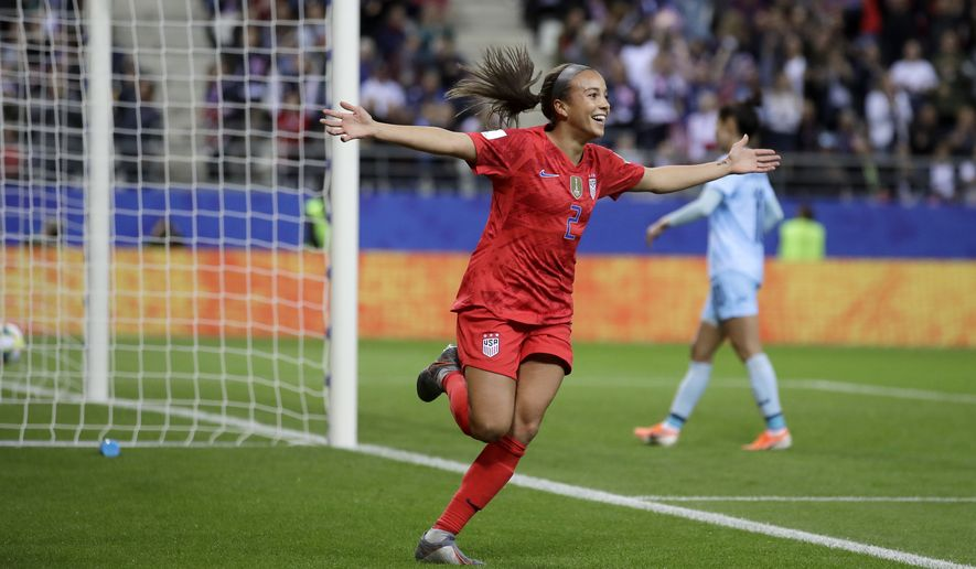 United States' Mallory Pugh celebrates after scoring her side's 11th goal during the Women's World Cup Group F soccer match between United States and Thailand at the Stade Auguste-Delaune in Reims, France, Tuesday, June 11, 2019. (AP Photo/Alessandra Tarantino) ** FILE **