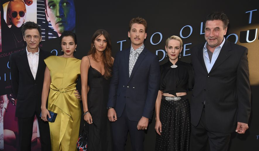 "From left, ""Too Old to Die Young"" cast members John Hawkes, Cristina Rodlo, Nell Tiger Free, Miles Teller, Jena Malone and Billy Baldwin pose together at a special screening of the Amazon Prime series at the Vista Theatre, Monday, June 10, 2019, in Los Angeles. (Photo by Chris Pizzello/Invision/AP)"