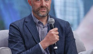 Chicago Bears head coach Matt Nagy speaks during a Leading the Bears panel Sunday, June 9, 2019, in Rosemont, Ill. (Kamil Krzaczynski/Chicago Tribune via AP)