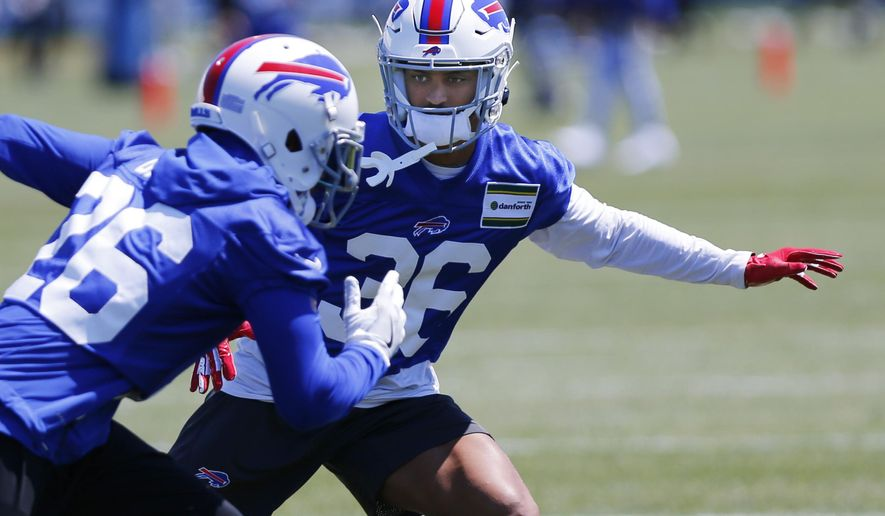 Buffalo Bills cornerback Kevin Johnson (36) runs drills during an NFL football team practice Tuesday, June 11, 2019, in Orchard Park N.Y. (AP Photo/Jeffrey T. Barnes)