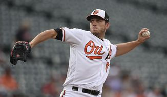 Baltimore Orioles pitcher John Means throws to a Toronto Blue Jays batter during the first inning of a baseball game Tuesday, June 11, 2019, in Baltimore. (AP Photo/Gail Burton)