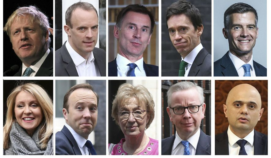 Combo group of ten file photos showing the contenders in the Conservative Party leadership race, with top row from left, Boris Johnson, Dominic Raab, Jeremy Hunt, Rory Stewart, Mark Harper, and bottom row from left, Esther McVey, Matt Hancock, Andrea Leadsom, Michael Gove, Sajid Javid.  The official list of ten contenders to replace Prime Minister Theresa May, for the office of Leader of Britain's Conservative Party was released Monday June 10, 2019. (PA via AP)