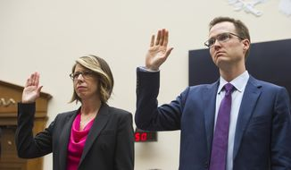 Sally Hubbard, director of enforcement strategy at the Open Markets Institute, and Matt Schruers,vice president of Law and policy with the Computer and Communications Industry Association, are sworn-in to testify before the House Judiciary Antitrust subcommittee hearing on 'Online Platforms and Market Power', on Capitol Hill in Washington, Tuesday, June 11, 2019. (AP Photo/Cliff Owen)