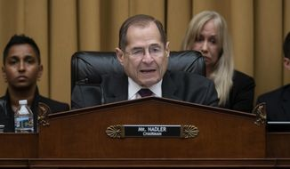 House Judiciary Committee Chairman, Rep. Jerrold Nadler, D-N.Y., makes an opening statement as House Democrats start their hearing to examine whether President Donald Trump obstructed justice, the first of several hearings scheduled by Democrats on special counsel Robert Mueller's report, on Capitol Hill in Washington, Monday, June 10, 2019. (AP Photo/J. Scott Applewhite)
