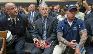 Entertainer and activist Jon Stewart lends his support to firefighters, first responders and survivors of the September 11 terror attacks at a hearing by the House Judiciary Committee as it considers permanent authorization of the Victim Compensation Fund, on Capitol Hill in Washington, Tuesday, June 11, 2019. (AP Photo/J. Scott Applewhite)