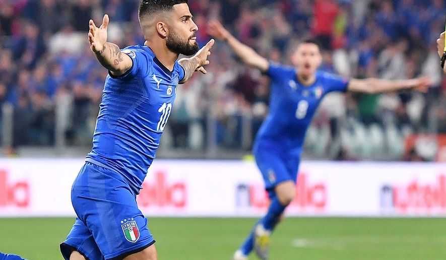 Italy's Lorenzo Insigne celebrates after scoring during the Euro 2020 group J qualifying soccer match between Italy and Bosnia- Herzegovina at the Allianz Stadium in Turin, Italy, Tuesday, June 11, 2019. (Alessandro Di Marco/ANSA via AP)