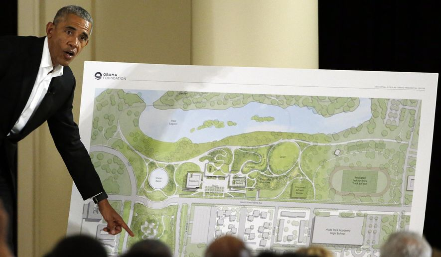 FILE - In this May 3, 2017 file photo, former President Barack Obama speaks at a community event on the Presidential Center at the South Shore Cultural Center in Chicago. A federal judge in Chicago says he'll dismiss a lawsuit brought by a parks advocacy group that is trying to stop Barack Obama's presidential center from being built. U.S. District Judge John Robert Blakey said there should be no delay in constructing the $500 million center after hearing arguments in court on Tuesday, June 11, 2019. He said a written ruling will follow later Tuesday.. (AP Photo/Nam Y. Huh, File)
