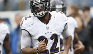 FILE - In this Oct. 14, 2018, file photo, Baltimore Ravens cornerback Jimmy Smith warms up before an NFL football game against the Tennessee Titans, in Nashville, Tenn.  During a busy offseason, the Baltimore Ravens put a high priority on fortifying a secondary that last season played a huge role on the top-ranked defense in the NFL. That included retaining Jimmy Smith. (AP Photo/Wade Payne)