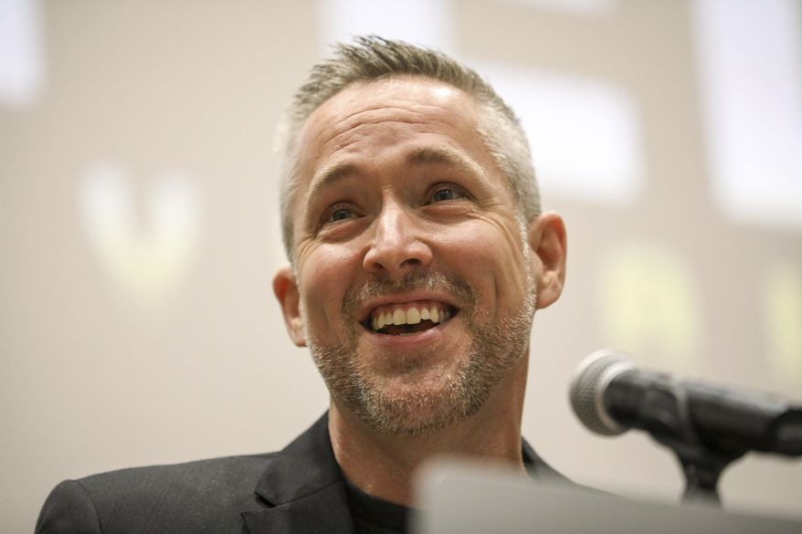 J. D. Greear, president of the Southern Baptist Convention, speaks during an Executive Committee plenary meeting at the Southern Baptist Convention on Monday, June 10, 2019, in Birmingham, Ala. ( Jon Shapley/Houston Chronicle via AP)