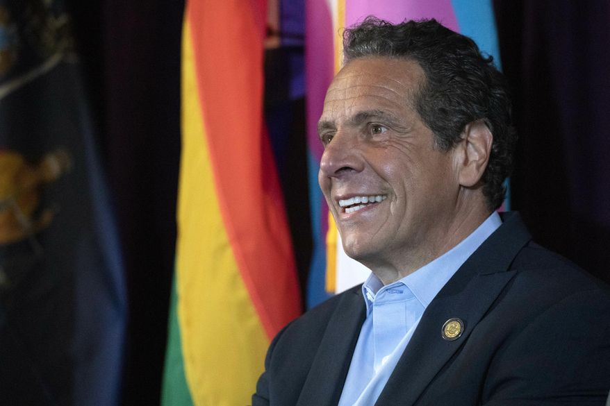 New York Gov. Andrew Cuomo speaks at the Lesbian, Gay, Bisexual & Transgender Community Center, Monday, June 10, 2019 in New York. The governor is pushing to legalize gestational surrogacy and ban the gay and trans panic defense. (AP Photo/Mark Lennihan)