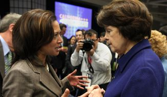 U.S. Sen.  Dianne Feinstein, right, talks with California Attorney General Kamala Harris after Feinsten's luncheon speech at the California Democrats State Convention in Sacramento, Calif., Saturday, April 30, 2011. Feinstein told the Democratic  faithful that they must work to retake the Hose of Representatives next year or risk deep GOP budget cuts that would hurt seniors and poor people the most. (AP Photo/Rich Pedroncelli)