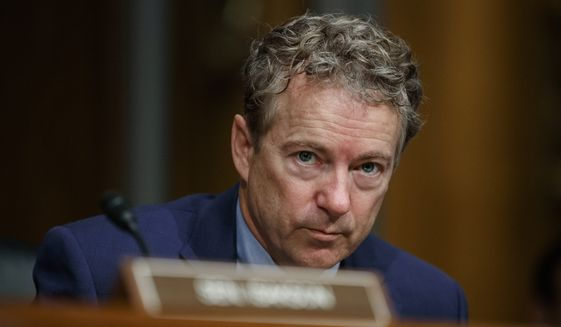 In this March 5, 2019, file photo, Sen. Rand Paul, R-Ky., pauses during a Senate Committee on Health, Education, Labor, and Pensions hearing on Capitol Hill in Washington. (AP Photo/Carolyn Kaster) ** FILE **